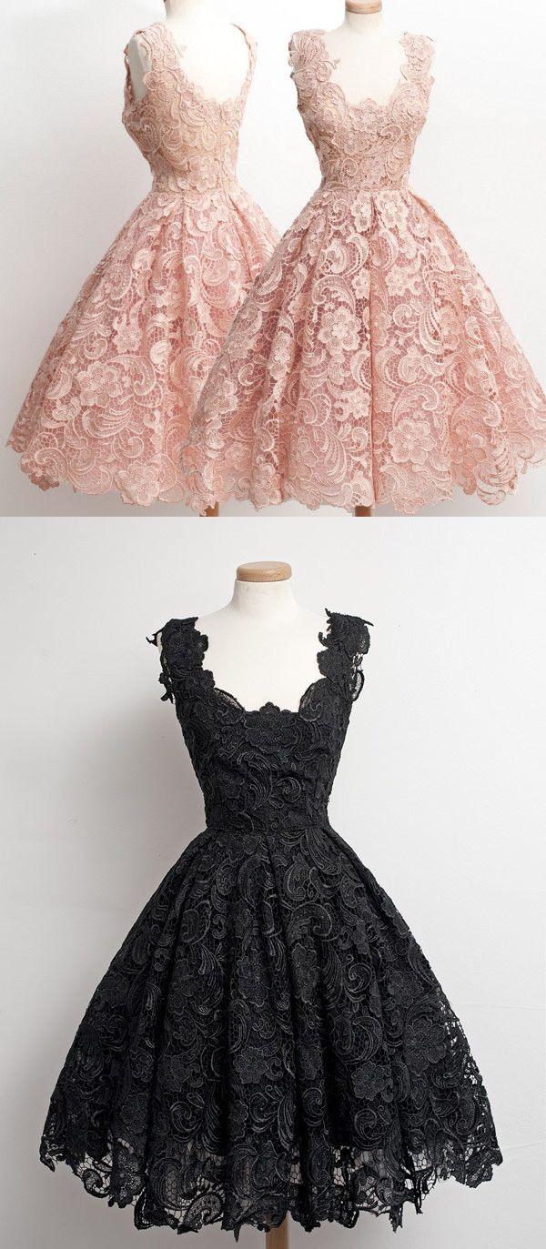 Aline scallopededge kneelength s vintage black lace prom