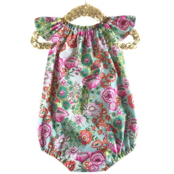 114901b82 Girls Spring Outfit, Spring Romper, Spring Dress, Floral Baby Romper,  Toddler Romper, Summer Girl Ro