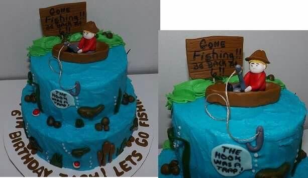 Fishing birthday,  fising boat theme cake, gone fishing birthday party cake idea. Poshcakedesigns.com Birmingham-AL