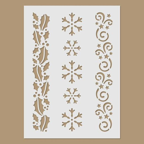 winter pattern christmas winter reusable plastic stencil stencils schablonen vorlagen y. Black Bedroom Furniture Sets. Home Design Ideas