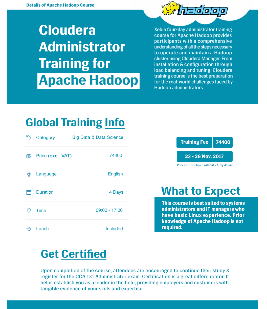 Cloudera Administrator Training Certification For Apache Hadoop In