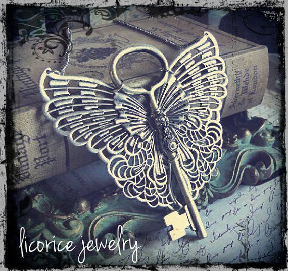 HUGE Antique Style STEAMPUNK  flying winged Skeleton Key Necklace neo victorian Filigree aged Swarovski crystals butterfly