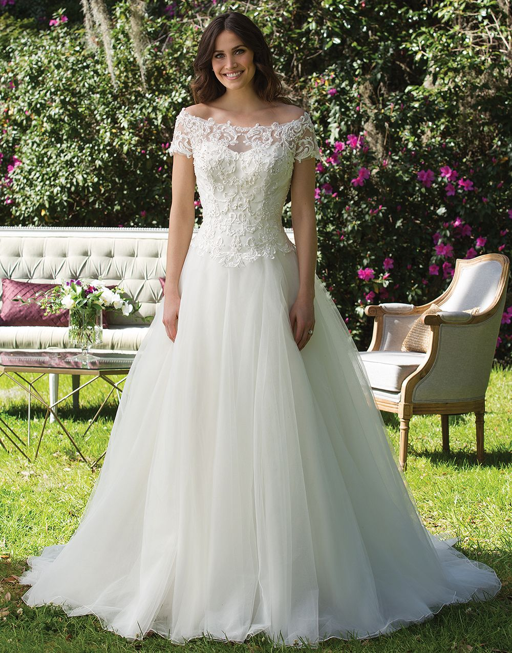 Sincerity Wedding Dress Style 3956 Heavily Beaded Embroidered Lace Bodice And Full Tulle Skirt Adorn