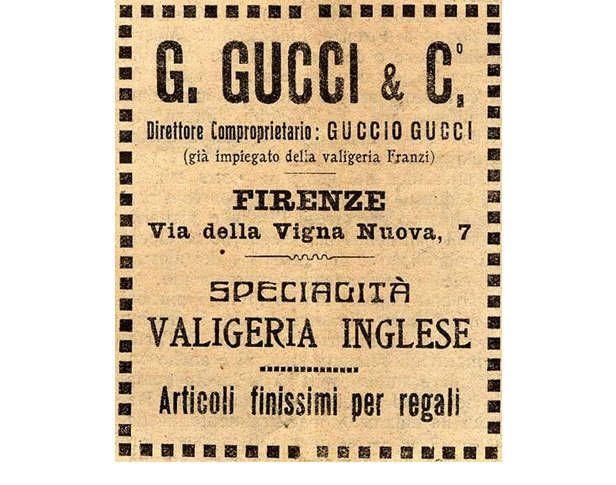 Nel 1921, Guccio Gucci fonda un'azienda specializzata in prodotti in pelle e un piccolo negozio di valigeria nella nativa Firenze.