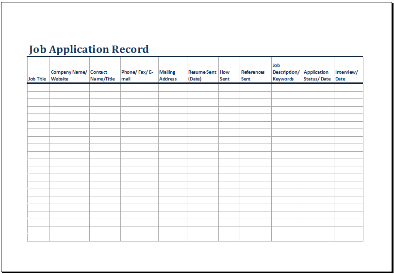 Job Application Log Template At HttpWwwXltemplatesOrgJob