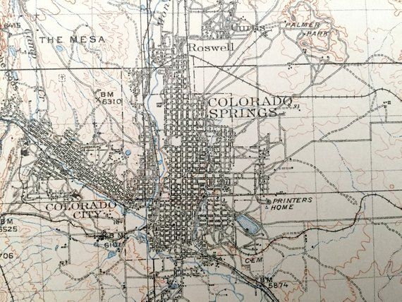 Antique Colorado Springs, Colorado 1909 US Geological Survey ... on