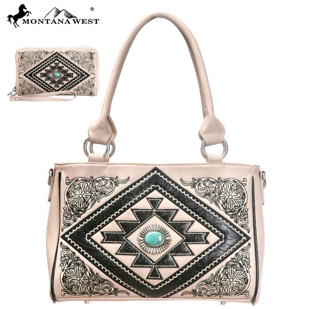 Montana West Aztec Collection Floral Embroidery Handbag & Wallet Set