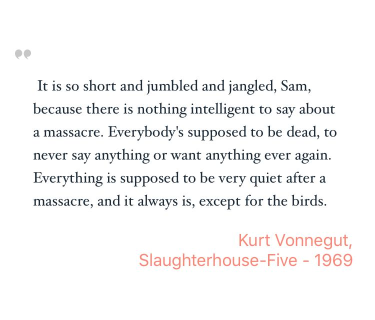 a literary analysis of slaughterhouse five by kurt vonnegut Literature ed jim kamp 3rd ed detroit: st james press, 1994 style analysis works cited explanation of: 'slaughterhouse-five' by kurt vonnegut litfinder contemporary collection, detroit: gale, 2009.