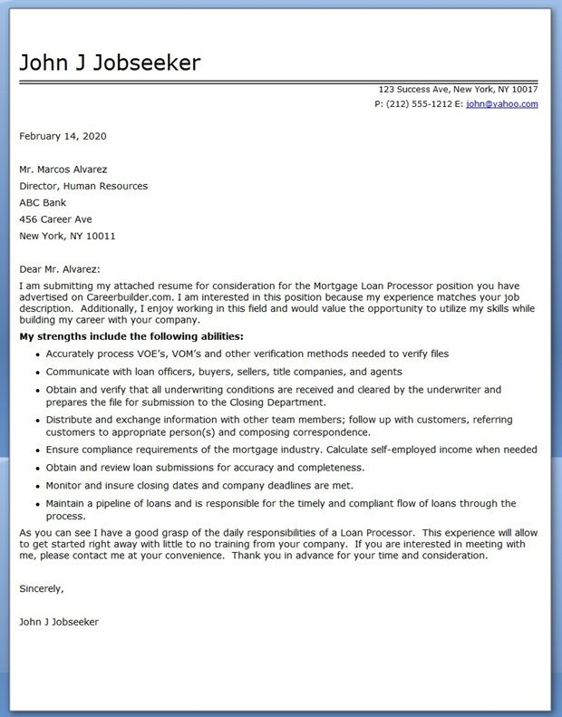 Sample Cover Letter Mortgage Loan Processor