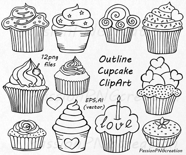 Outline Cupcake Clipart Doodle Cupcakes Clip by