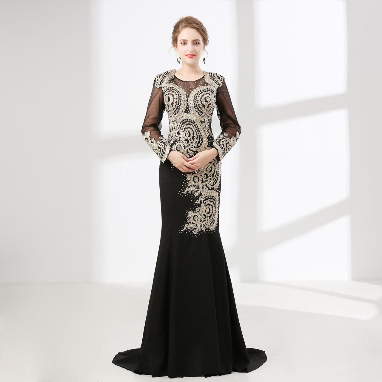 Vintage black mermaid prom dresses long sleeve outfits