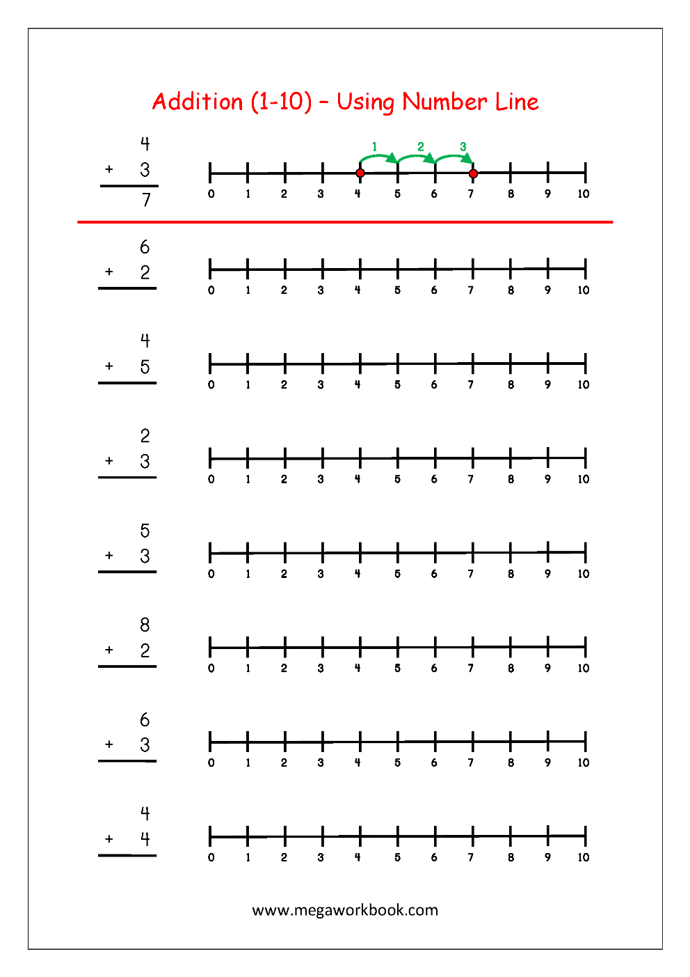 Worksheets - Addition Using Number Line (http://www.megaworkbook.com ...