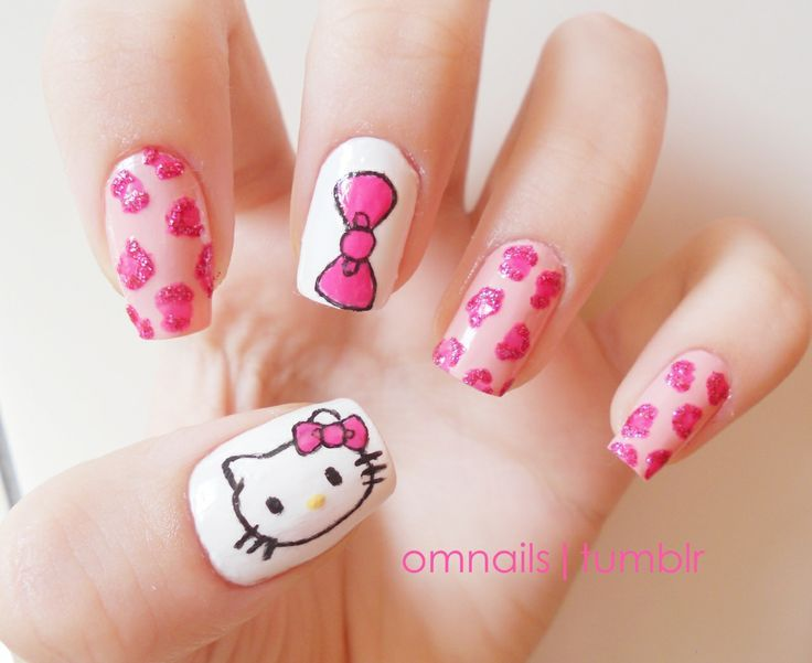 Hello Kitty Nails Mani Cures Bad Mood Sometimes Pinterest