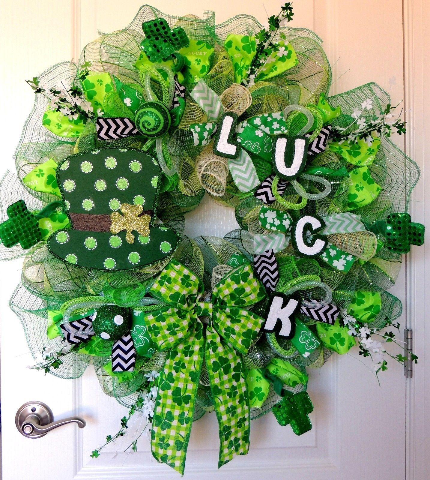 Deluxe St Patrick's Day Deco Mesh Wreath Leprechaun Hat St Patricks Day Wreath   eBay