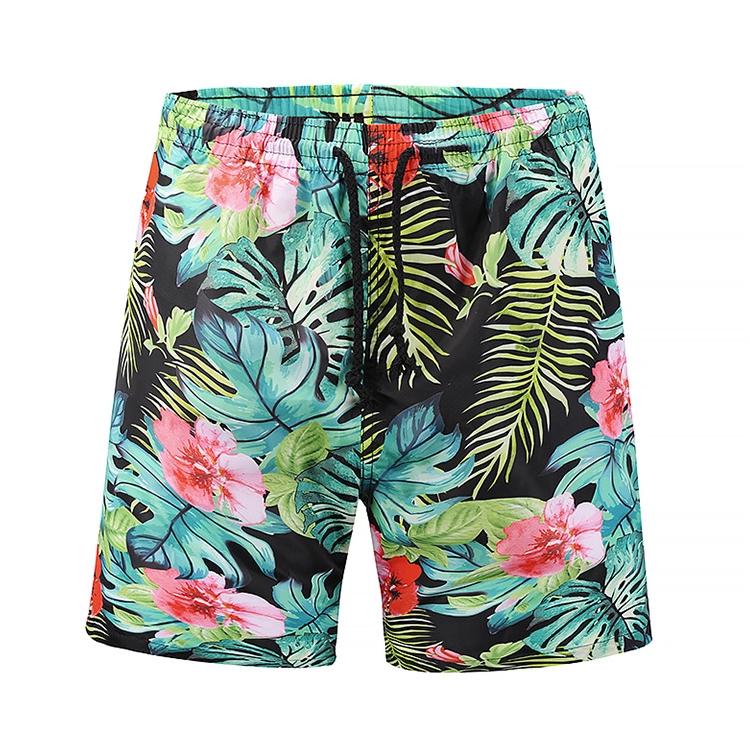 Yellow Floral Pattern Fit Mens Shorts Beach Swim Trunk Summer