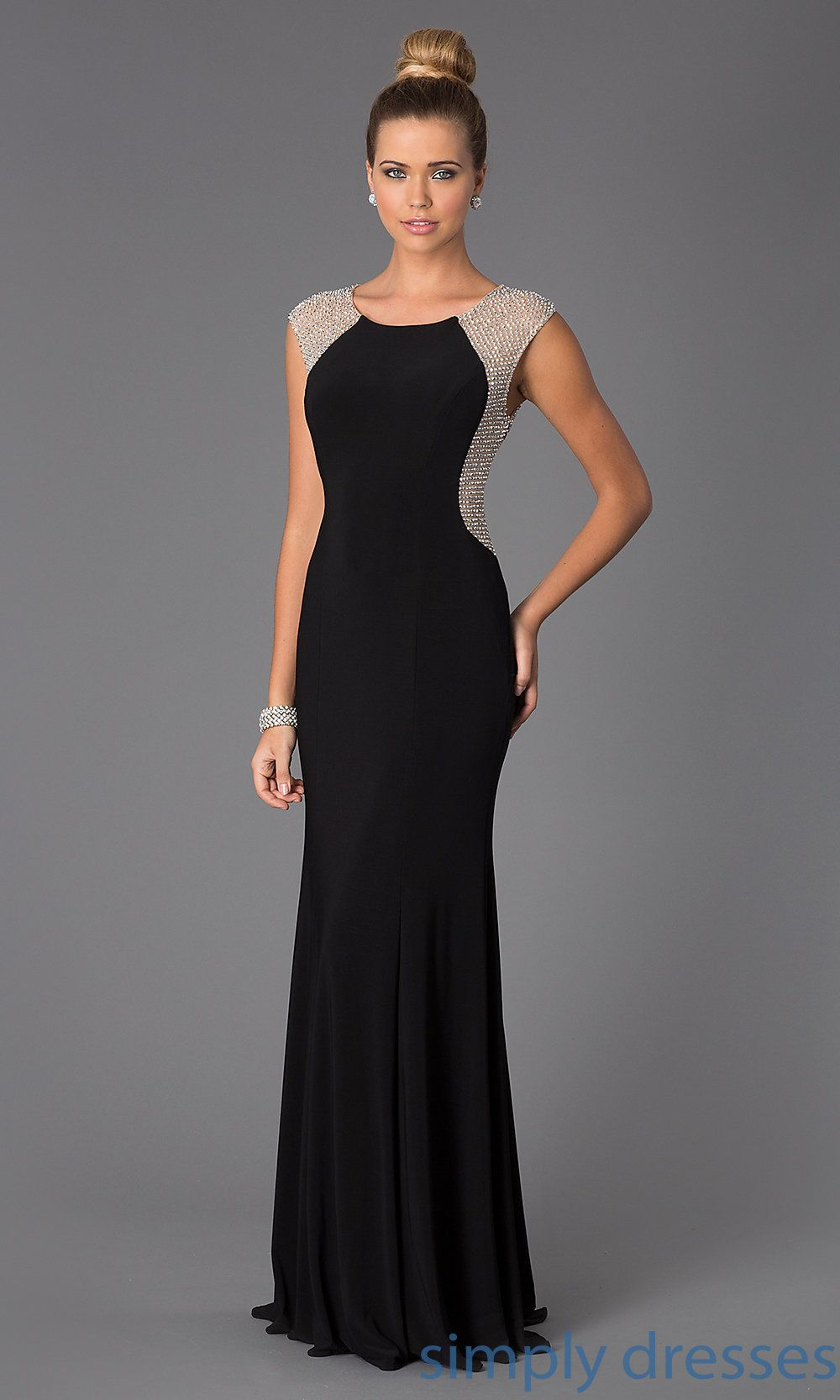 Xscape long black gown with sheer metallic boucle dressess