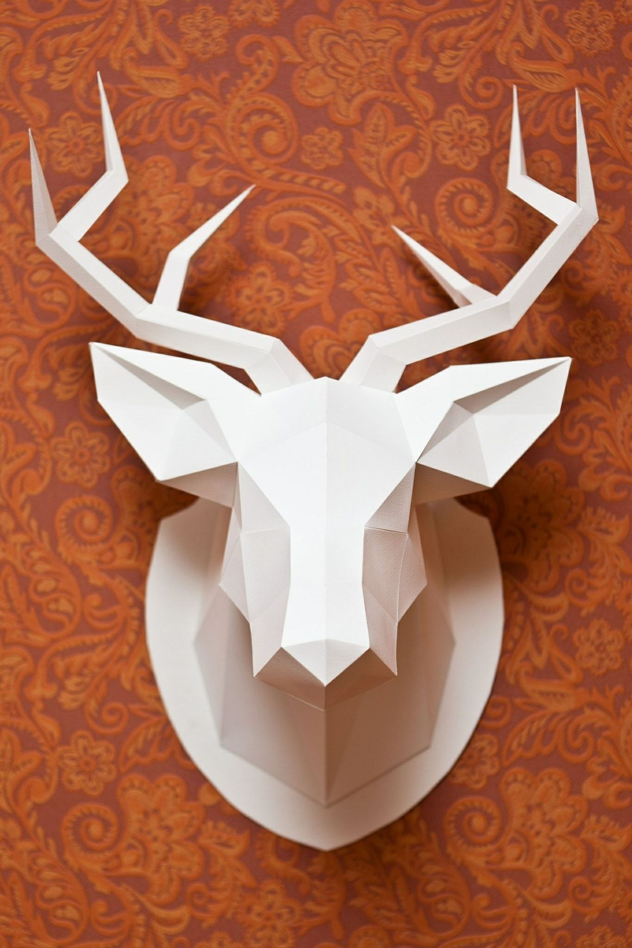 La plantilla 2d de la cabeza de ciervo la instrucci n en espa ol cabezas de carton pinterest - Cabeza ciervo carton ...