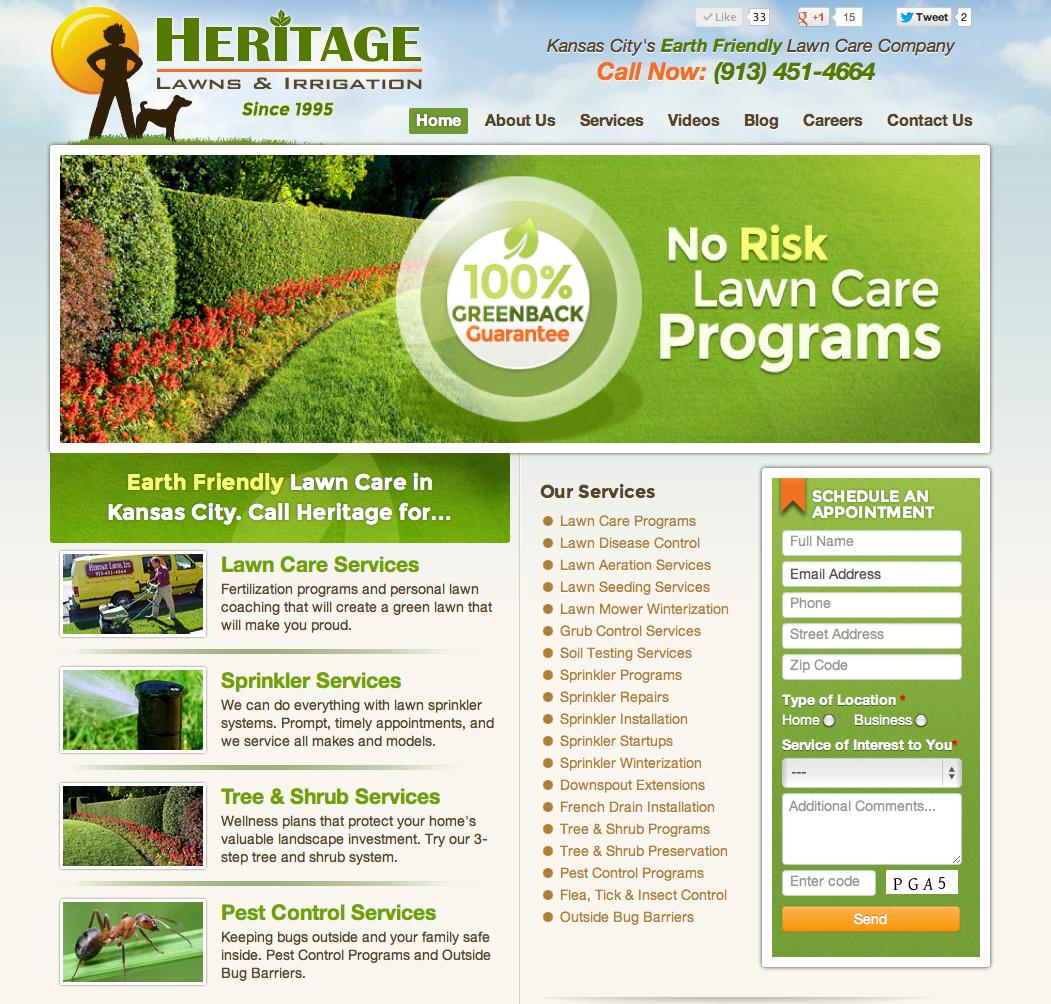 Olathe Overland Park Kansas City Lawn Care Website Design