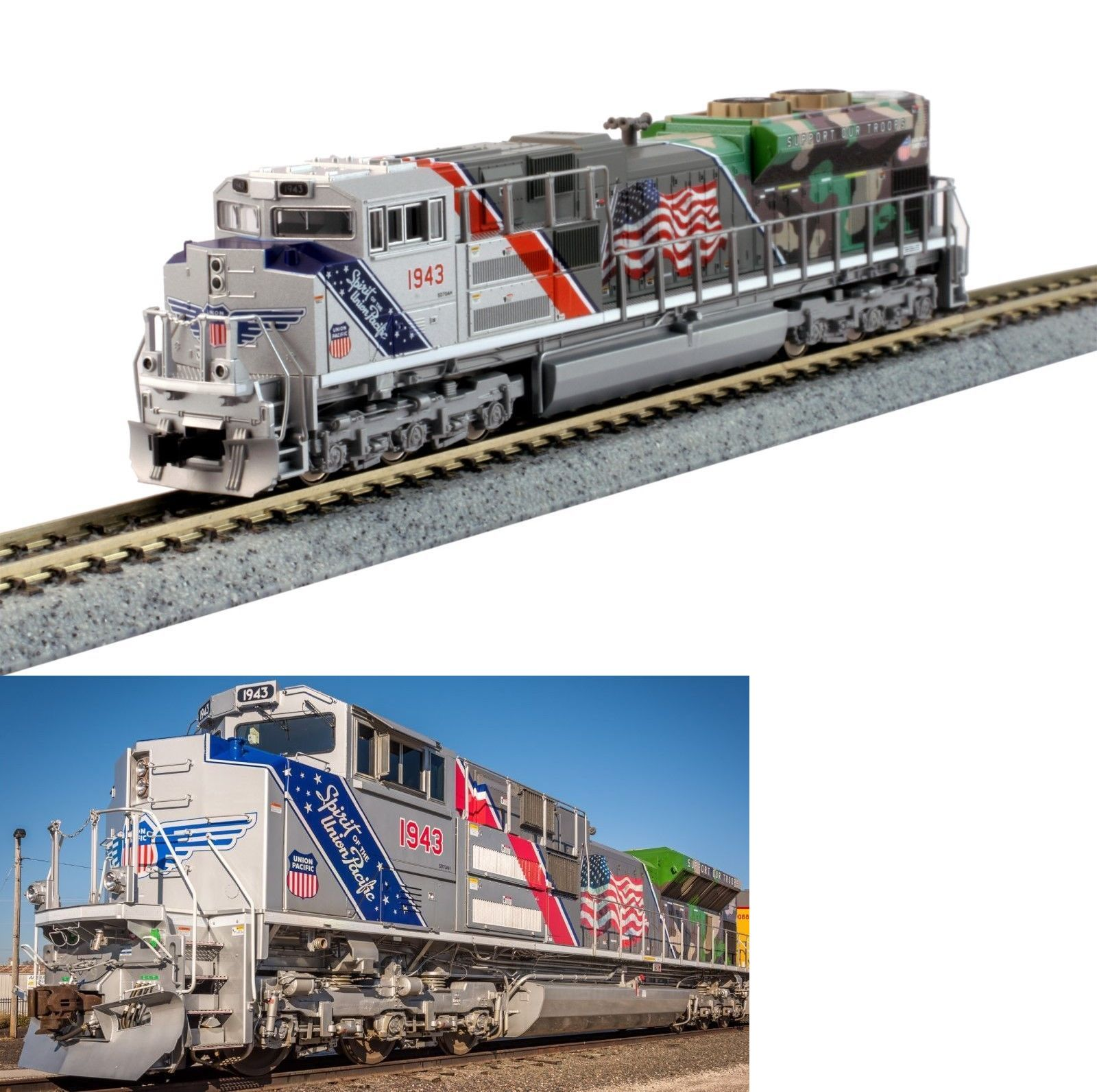 n scale 19119 kato 1761943 n scale sd70ace union pacific spirit of