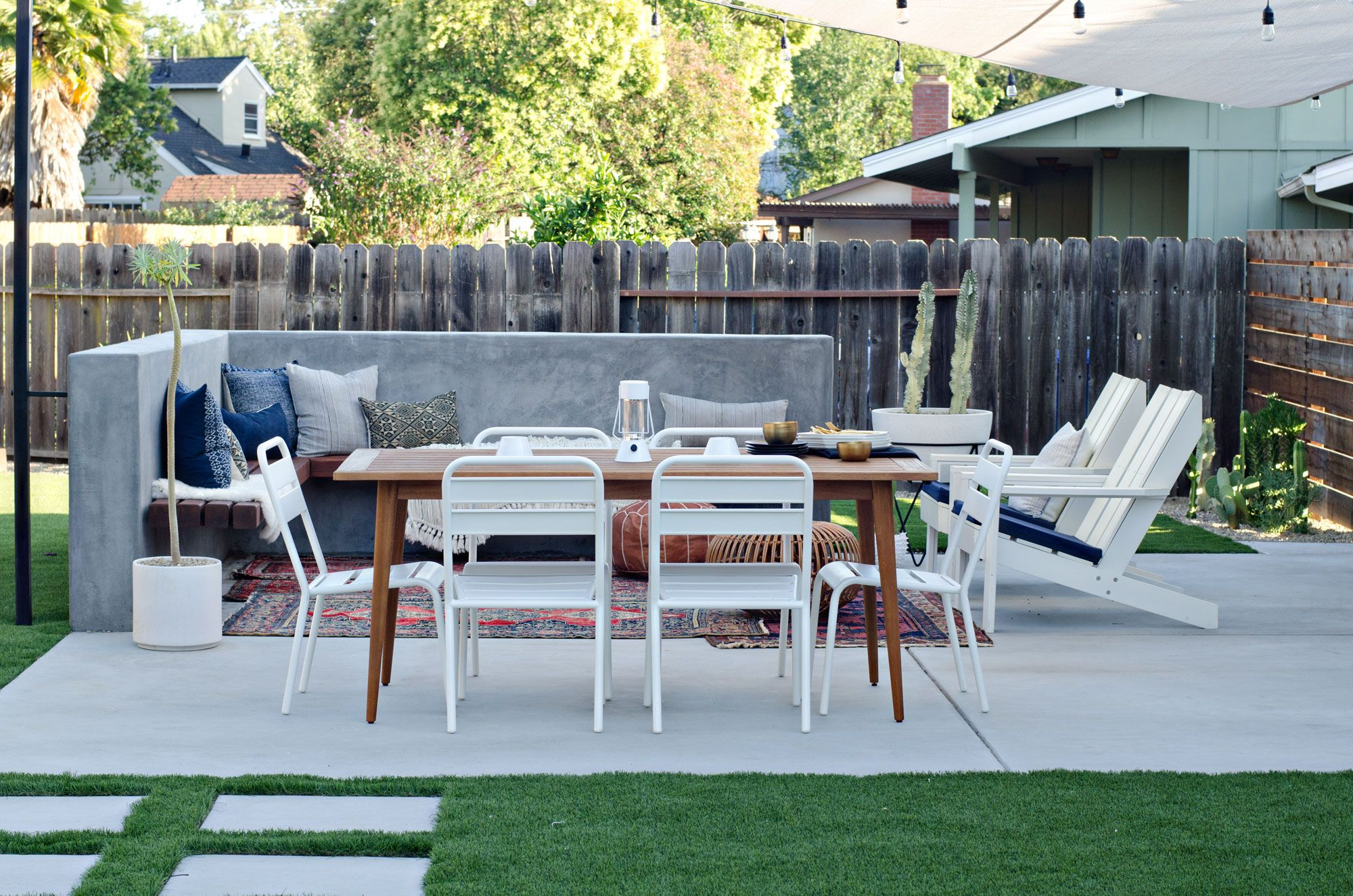 Concrete Bench In Modern California Backyard Patio Reveal   BrittanyMakes