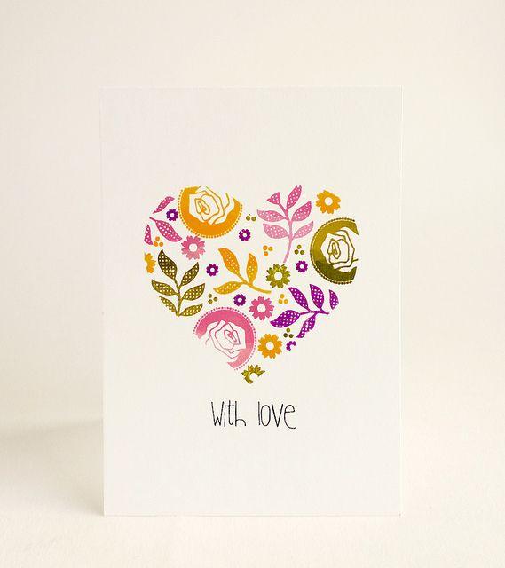 CAS. Only ink. masked heart. Colorful stamps inside mask.  --Aga. Via Flickr