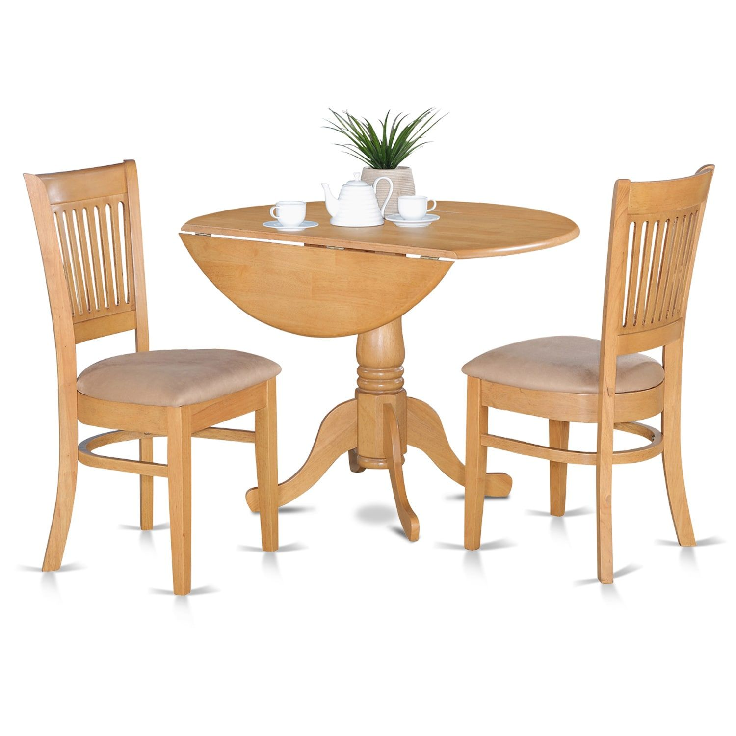 Small kitchen table and 2 chairs  Laurel Creek Daulton Oak Kitchen Table and  Slat Back Chairs Brown