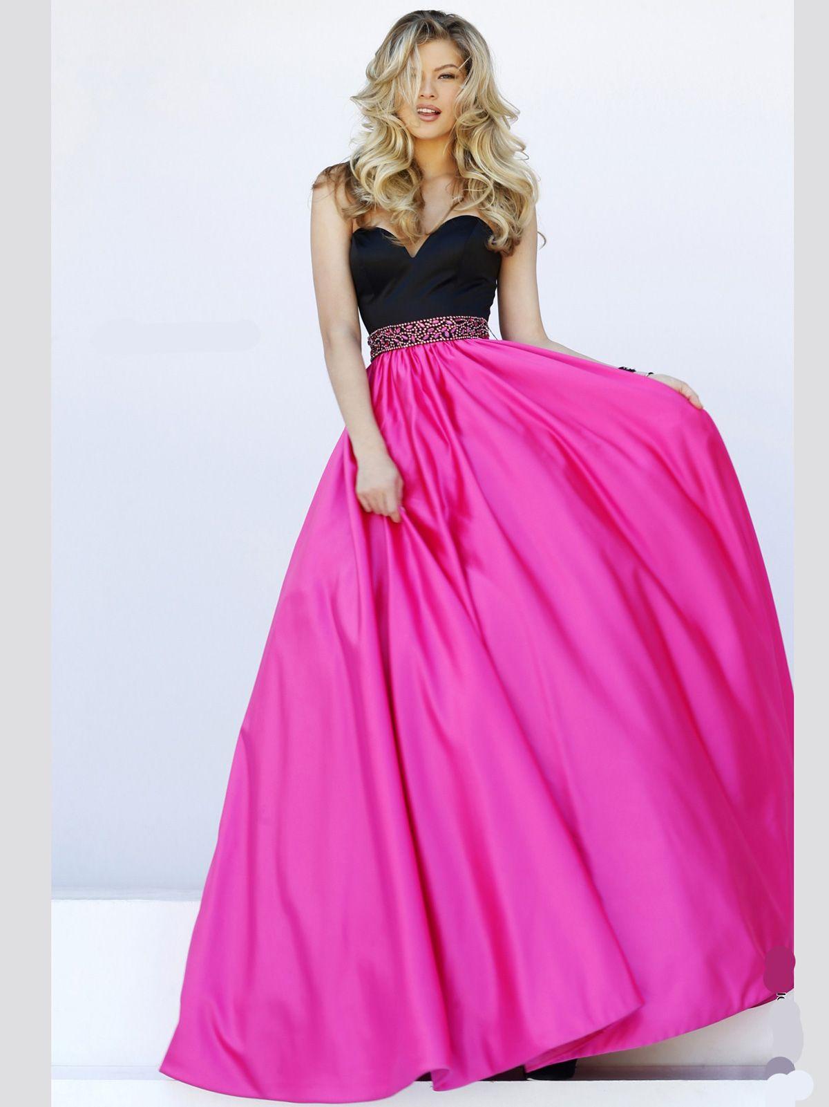 New Fashion Dresses at PromGirlGown: Long Sherri Hill 32324 Black Fuchsia  Sweetheart Prom Dress