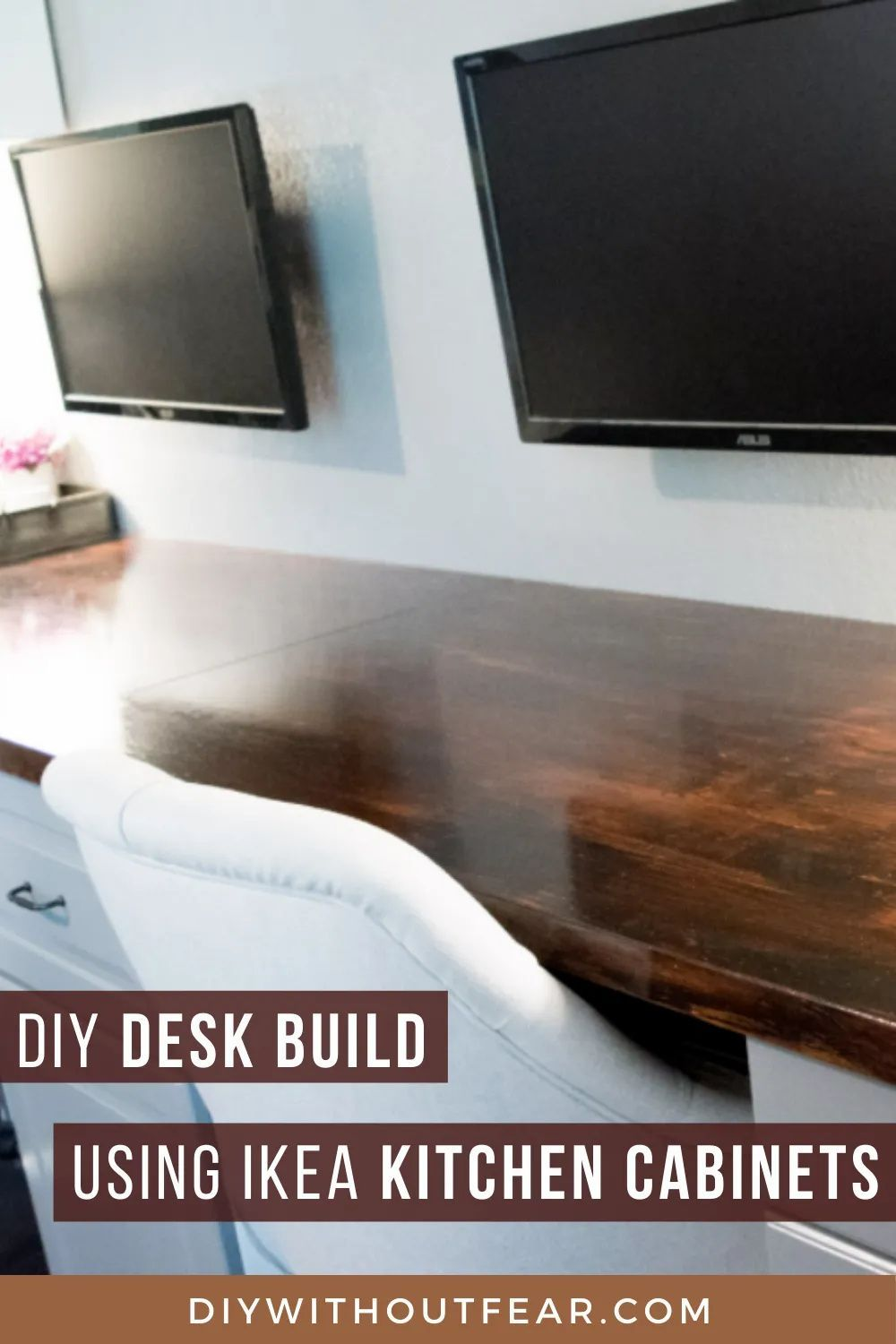 How To Make A Desk From Kitchen Cabinets Part Two Diy Without Fear In 2020 Diy Home Furniture Ikea Kitchen Diy Furniture Flip