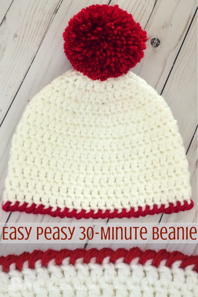 Easy Peasy 30-Minute Beanie Free Crochet Pattern | Gorros y Zapatos