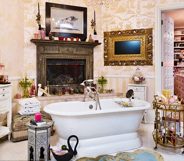 We're Swooning Over These 10 Luxe Celebrity Bathrooms via Brit + Co.