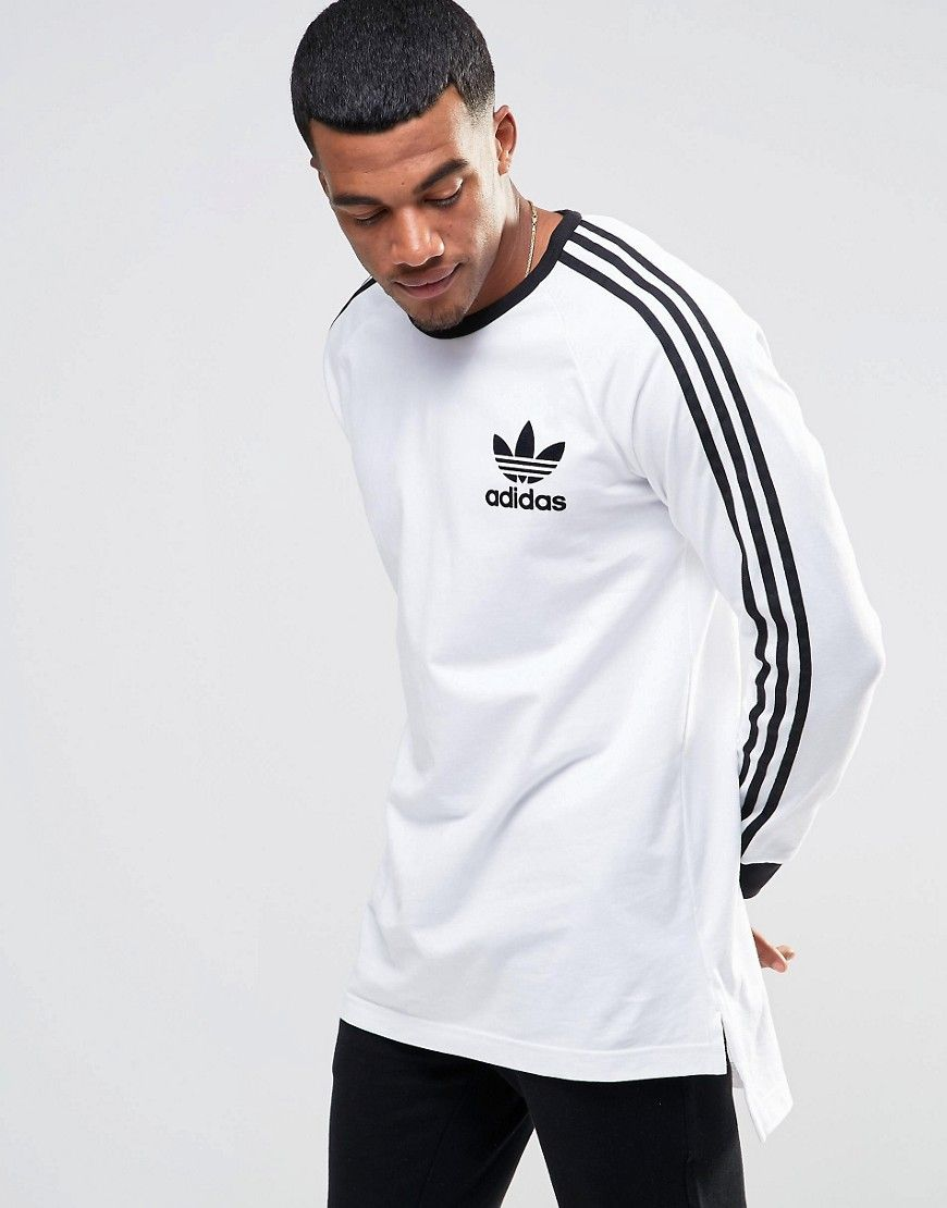 adidas Originals adicolor Longline Long Sleeve T-Shirt In White B10656 at  asos.com