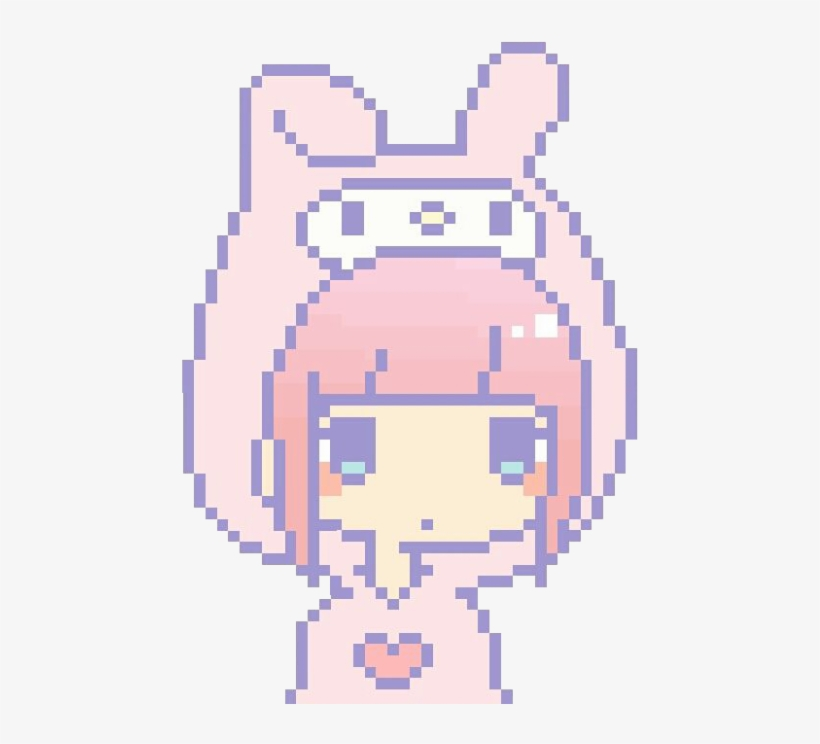 Sanrio My Melody Pastel Pink Girl Kawaii Cute Cute Pixel Art Girl Transparent Png Download Anime Pixel Art Pixel Art Pixel Art Templates