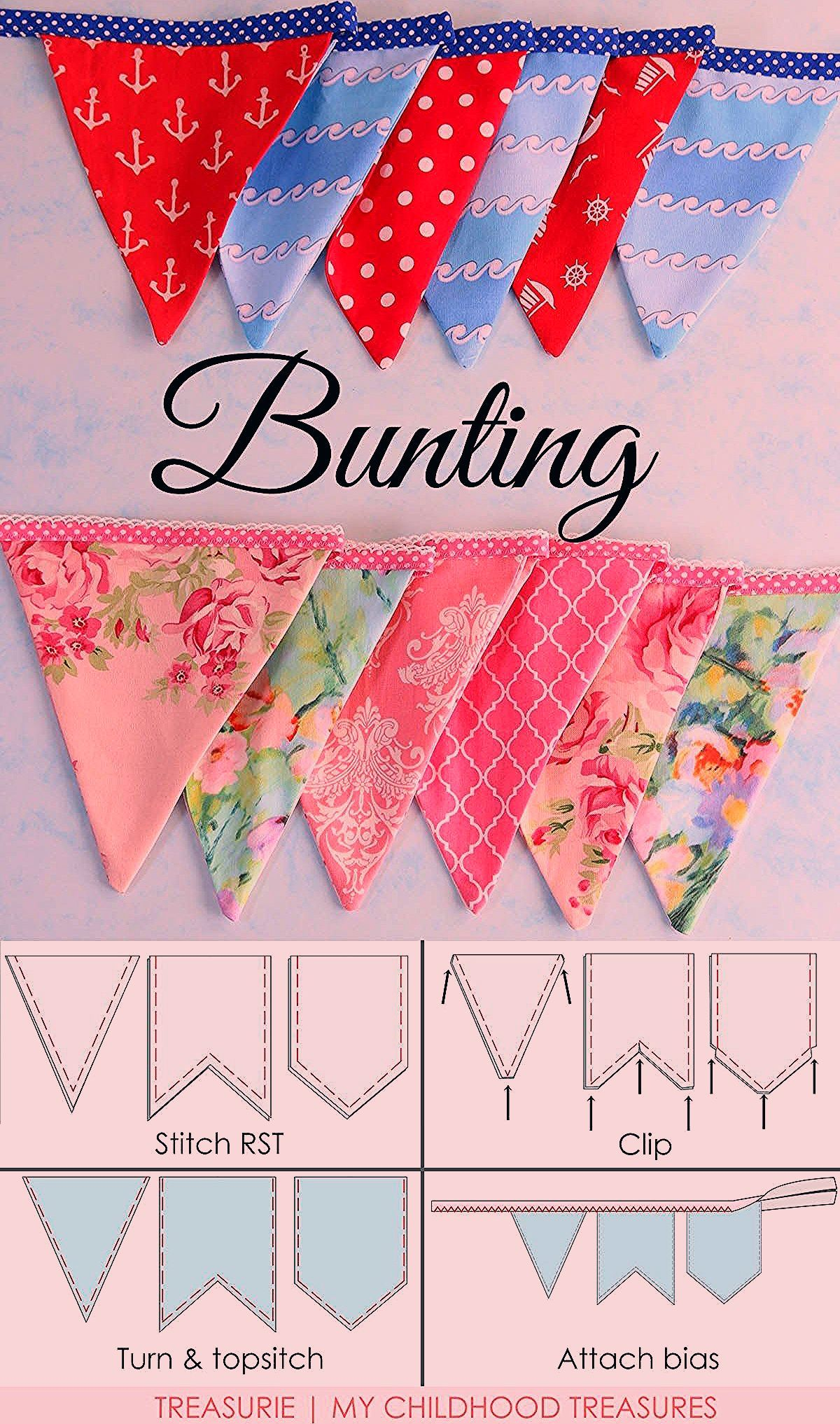 Photo of How to Make Bunting | 3 Bunting Template Shapes | TREASURIE