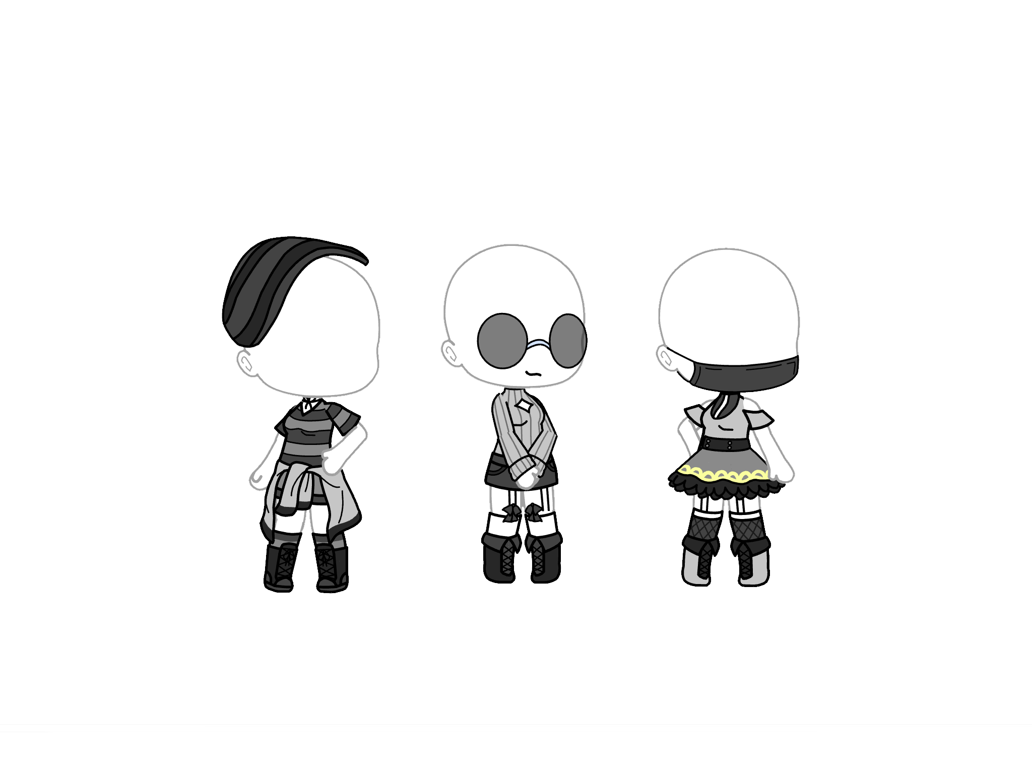 Gacha Life Girl Outfit Ideas Gray And Black With Images Anime