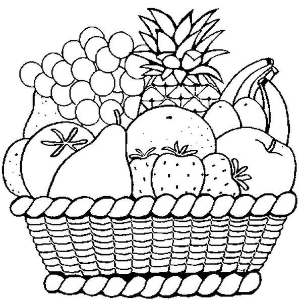 Le Panier De Fruits Du Dessin Est Bien Garni Colorie Chaque Fruit