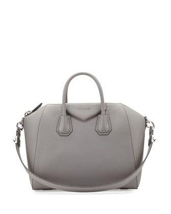 Antigona+Medium+Leather+Satchel+Bag,+Gray+by+Givenchy+at+Neiman+Marcus.
