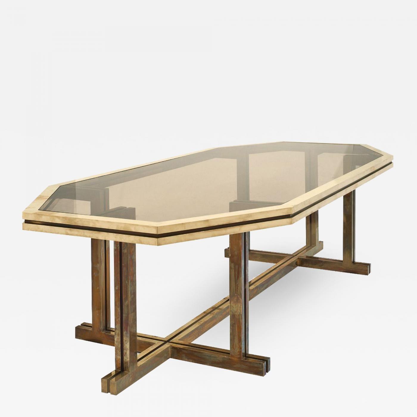 Romeo Rega Romeo Rega Brass And Smoked Glass Dining Table Dining Table Smoked Glass Glass Dining Table
