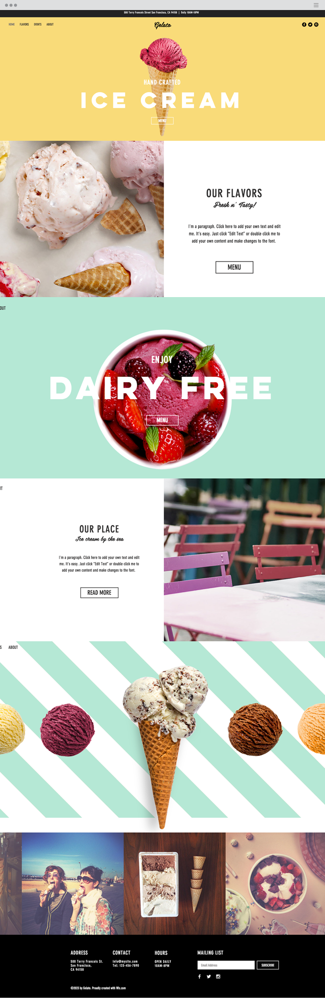 Ice Cream Parlor Website Template