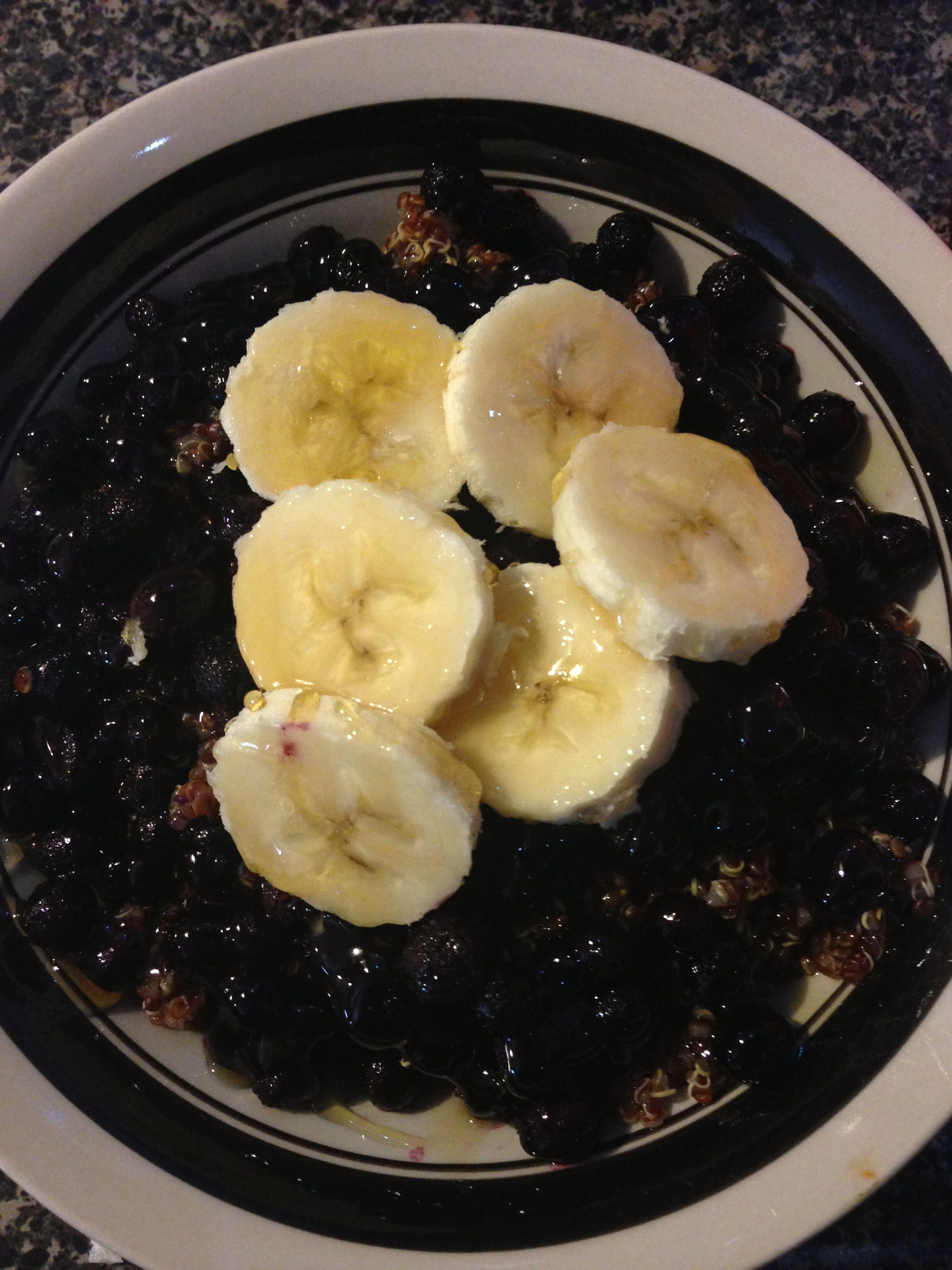 Quinoa, frozen blueberries, bananas, honey.