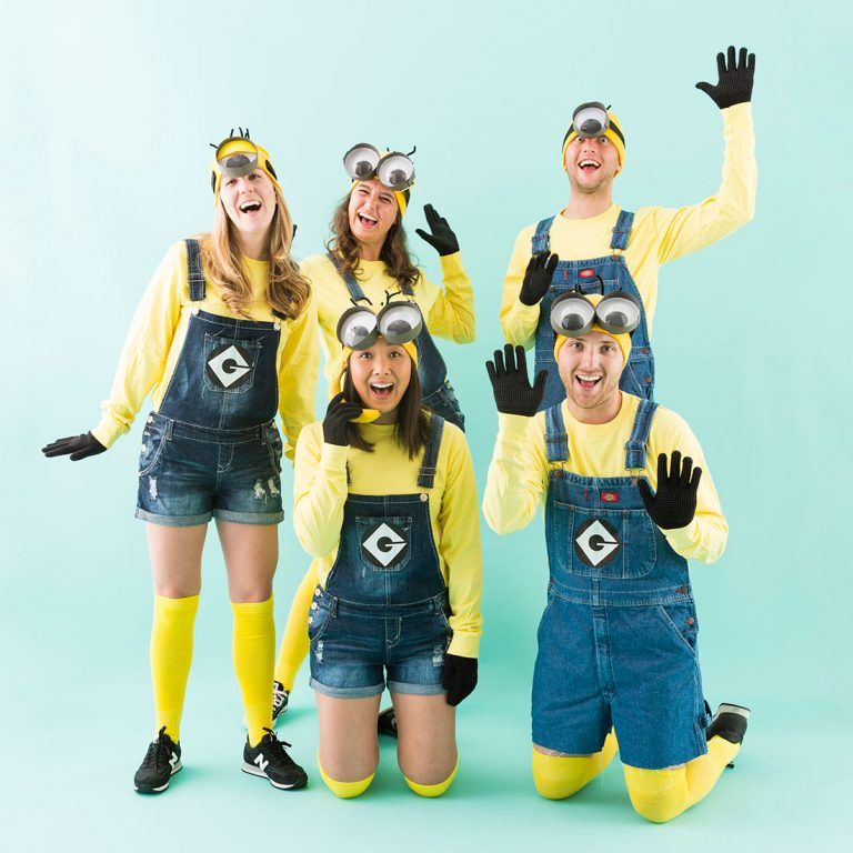 you your crew can dress up as the minions with this diy halloween group costume tutorial