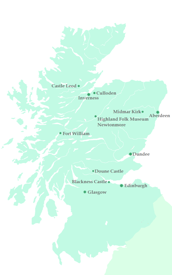 Schottland map Karte Outlander film locations Drehorte Scotland
