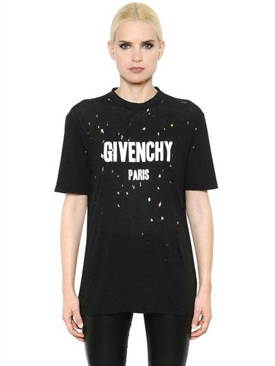 a34ab319c GIVENCHY Oversize Destroyed Cotton Jersey T-Shirt, Black. #givenchy #cloth # t-shirts