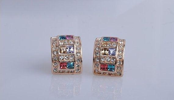 YE212 Multicolour Crystal Earring 18K Rose Gold by BlueroseFashion, €9.00