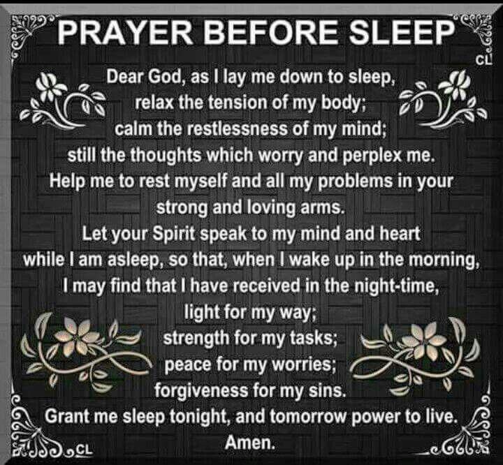 Prayer before sleep Geestelik Pinterest Bible