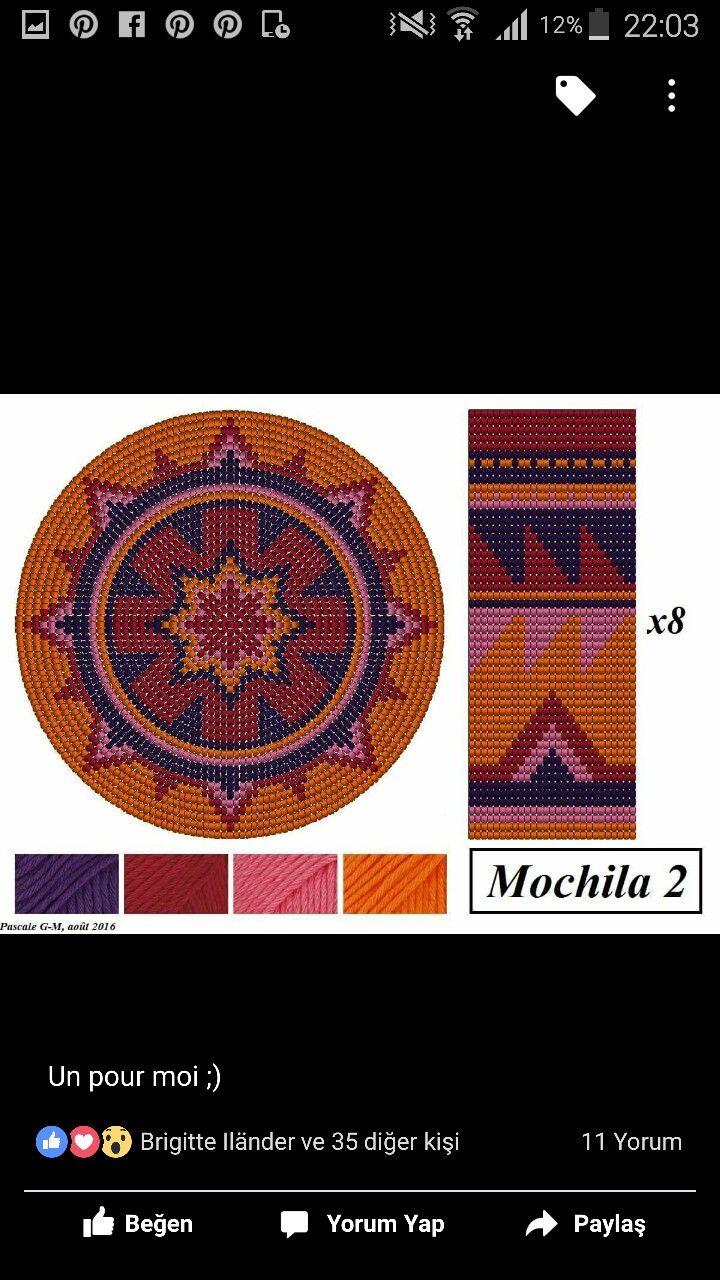 Wayuu Mochila pattern bottom | yarn | Pinterest | Tasche häkeln ...