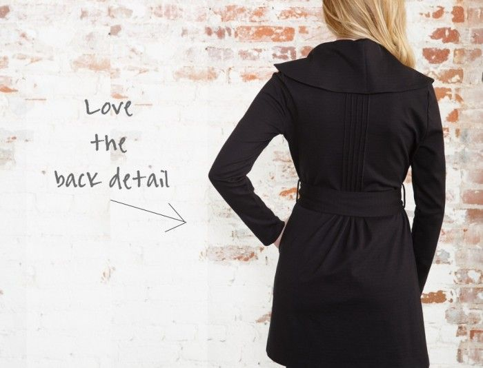 We're totally enamored with the back detail–all pintucks and pleats, complete with a wide self-belt.