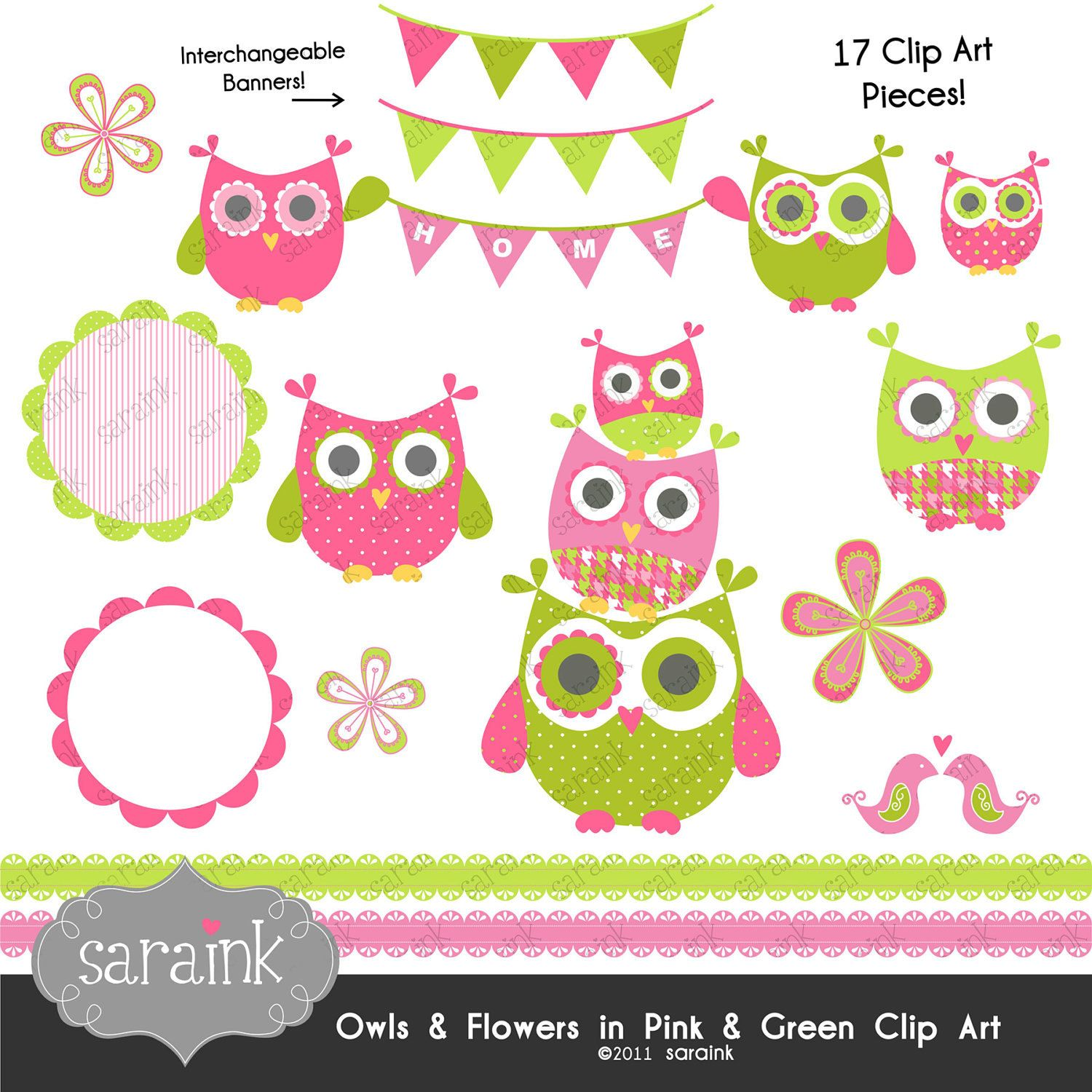 Owl And Flower Clipart Download Pink Lime Green Personal And