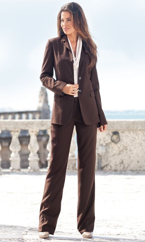 Lel Pinstripe Suit Brown Tall Womens Clothes Ladies  Long -2626