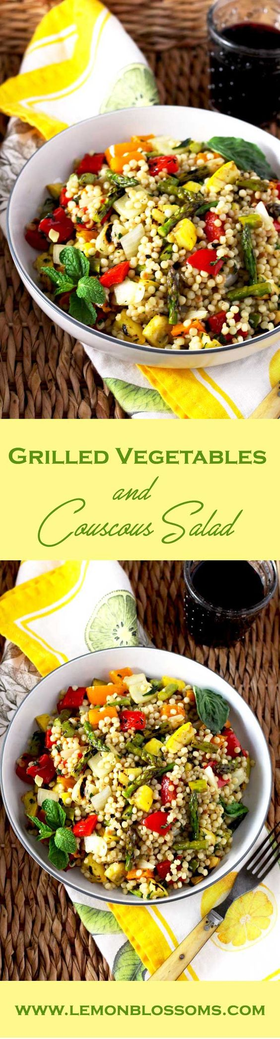 Balsamic marinated vegetables, toasted Israeli couscous, and fresh herbs are tossed in a simple and flavorful lemon vinaigrette. This Grilled Vegetables and Couscous Salad is healthy and delicious! via @https://www.pinterest.com/lmnblossoms/
