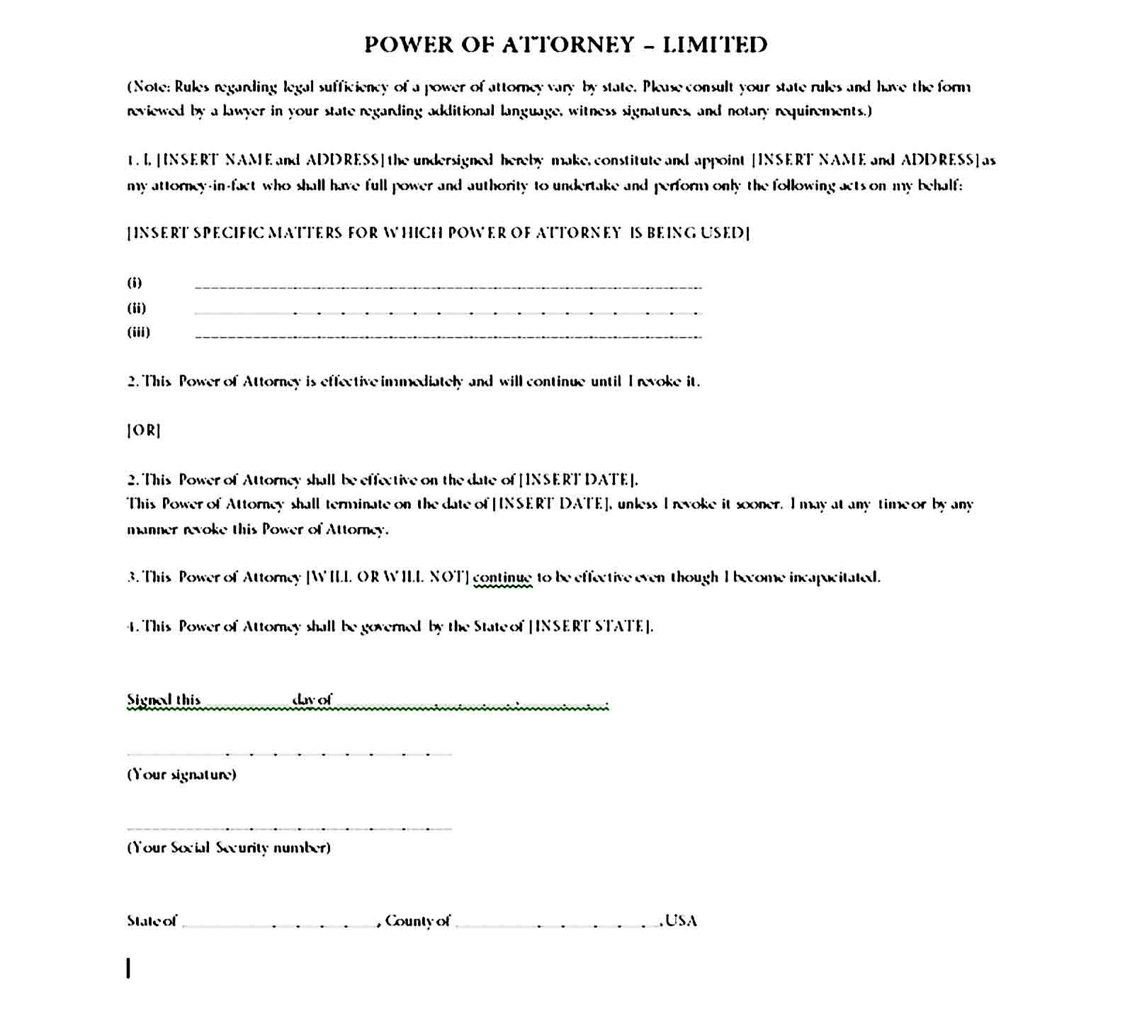 Printable Free Durable Power Of Attorney